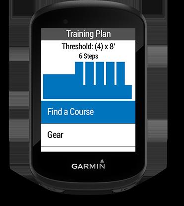 Edge 530 con la schermata degli allenamenti avanzati