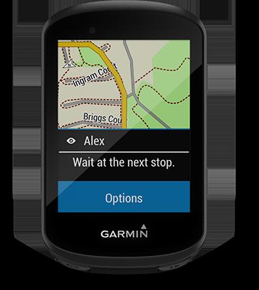 Edge 530 mountain bike bundle con la pantalla de mensajería de grupo