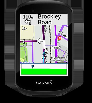 Edge 530 mountain bike bundle con la pantalla de Garmin Cycle Map