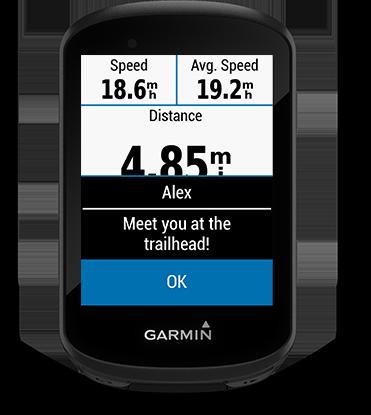 Edge 530 mountain bike bundle mit Smart Notifications-Seite