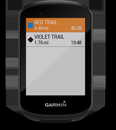 Edge 530 mountain bike bundle con la pantalla de la aplicación Trailforks