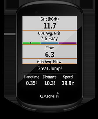 Edge 830 con la pantalla de métricas de ciclismo de montaña