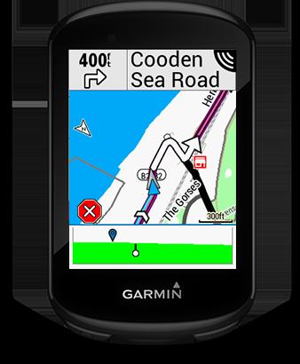 Edge 830 con la pantalla de indicaciones
