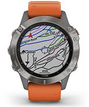 fenix 6 Pro y Zafiro con la pantalla de mapas de esquí TopoActive de Europa