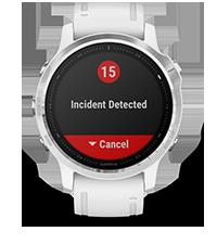 fēnix 6S con la pantalla de las funciones de seguimiento y seguridad