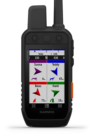 Dispositivo de mano Alpha 200i con pantalla para las métricas de caza