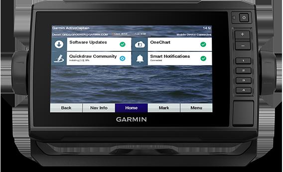 ECHOMAP UHD 73cv with ActiveCaptain app screen
