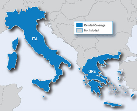 Map Of Italy Greece.City Navigator Europe Nt Italy And Greece