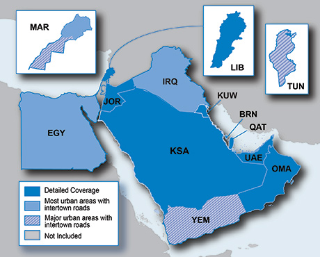 Garmin City Navigator® Middle East & Northern Africa NT 2011 Map Coverage