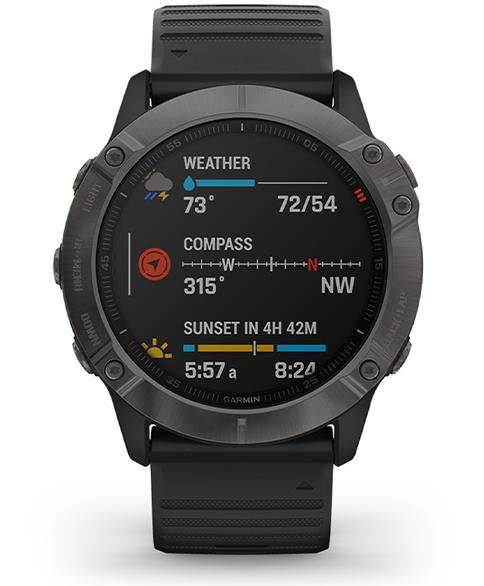 Garmin Fenix 6x Carbon Grey funkcja pogody