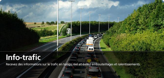 Info-trafic, recevez des informations sur le trafic en temps réél et évitez embouteillages et ralentissements