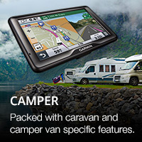 Garmin campervan and caravan sat nav with large vehicle and weight navigation options