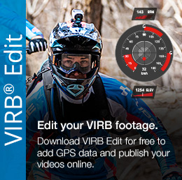 The VIRB Edit desktop app combines video footage from your VIRB action camera with GPS and other data from a compatible Garmin device